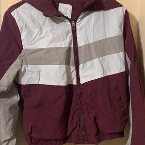maroon gray windbreaker hoodie